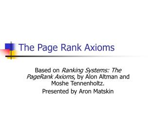 The Page Rank Axioms