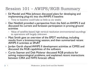 Session 101 – AWIPS/RGB Summary