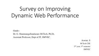 Survey on Improving Dynamic Web Performance