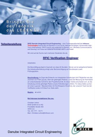 RFIC Verification Engineer  mitarbeiten.