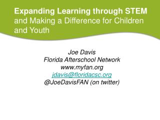 Expanding Learning through STEM and Making a Difference for Children and Youth