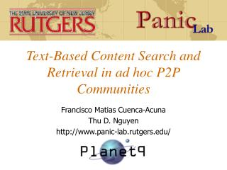 Text-Based Content Search and Retrieval in ad hoc P2P Communities