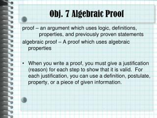 Obj. 7 Algebraic Proof
