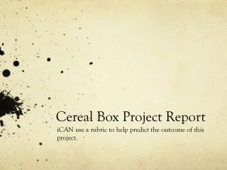 Cereal Box Project Report