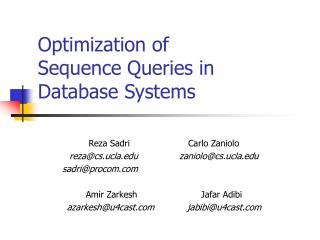 Optimization of  Sequence Queries in  Database Systems