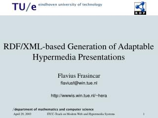 RDF/XML-based Generation of Adaptable Hypermedia Presentations