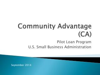 Community Advantage (CA)