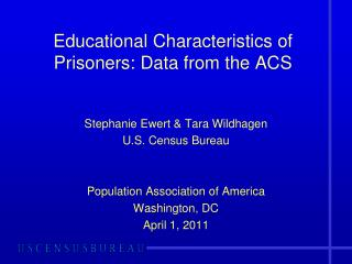 Educational Characteristics of Prisoners: Data from the ACS