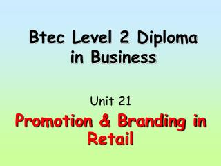 Btec Level 2 Diploma in Business