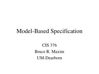 Model-Based Specification