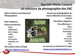 The CAF Photo Contest Le concours de photographie des FAC