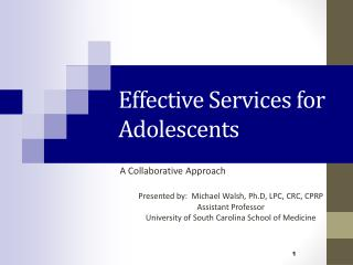 Effective Services for Adolescents