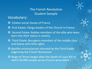 The French Revolution Student Sample
