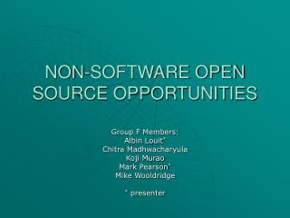 NON-SOFTWARE OPEN SOURCE OPPORTUNITIES