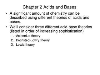 Chapter 2 Acids and Bases