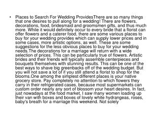 Places to Search For Wedding