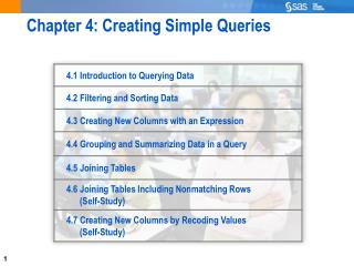Chapter 4: Creating Simple Queries