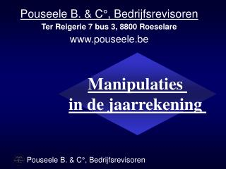 Manipulaties  in de jaarrekening