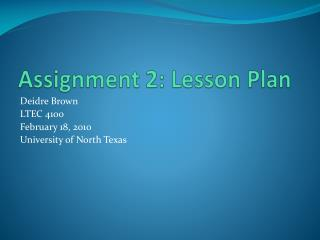 Assignment 2: Lesson Plan