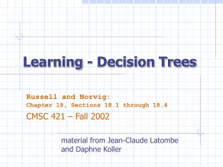 Learning - Decision Trees