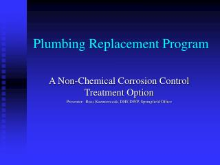 Plumbing Replacement Program