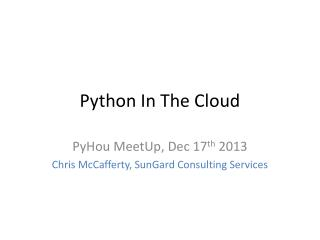 Python In The Cloud