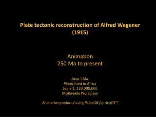 Plate tectonic reconstruction of Alfred Wegener (1915) Animation 250 Ma to present Step 1 Ma