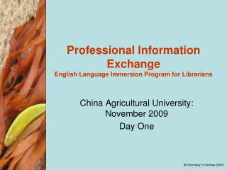 Professional Information Exchange English Language Immersion Program for Librarians