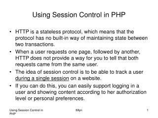 Using Session Control in PHP
