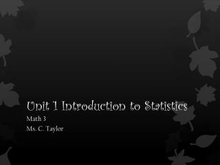 Unit 1 Introduction to Statistics
