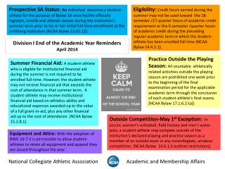 Division I End of the Academic Year Reminders April 2014