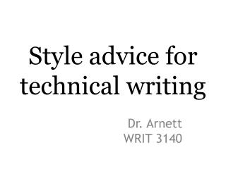 Style advice for technical writing