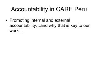 Accountability in CARE Peru
