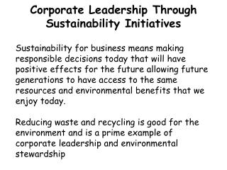 Corporate Leadership Through Sustainability Initiatives