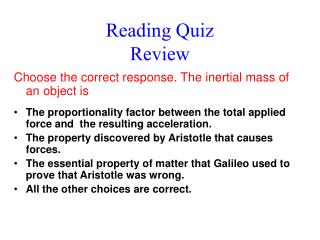 Reading Quiz Review