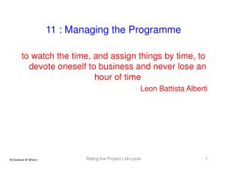 11 : Managing the Programme