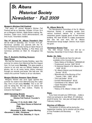 S t. A lbans H istorical S ociety Newsletter - Fall 2009
