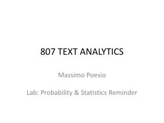 807 TEXT ANALYTICS