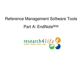 Reference Management Software Tools Part A:  EndNote Web