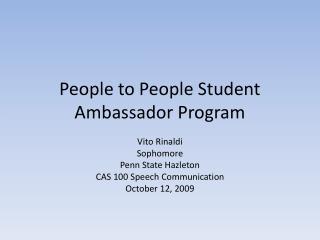 People to People Student Ambassador Program