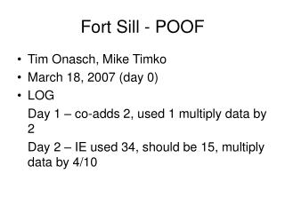 Fort Sill - POOF