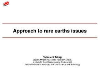 Approach to rare earths issues
