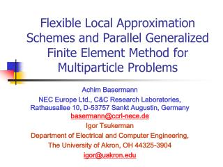 Flexible Local Approximation Schemes and Parallel Generalized Finite Element Method for Multiparticle Problems