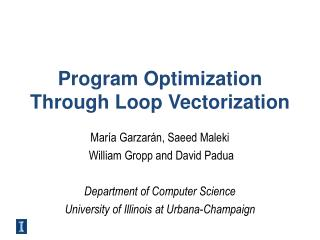 Program Optimization Through Loop Vectorization