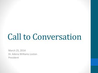 Call to Conversation