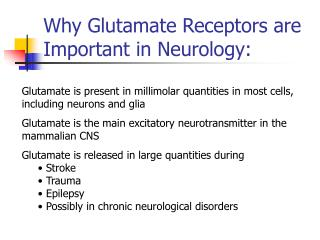 Why Glutamate Receptors are Important in Neurology: