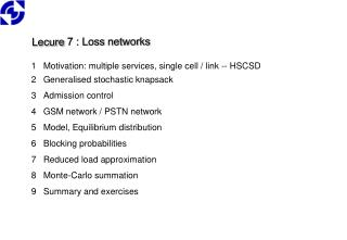 Lecure  7 : Loss  networks