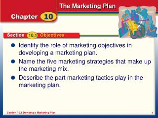 Identify the role of marketing objectives in developing a marketing plan.