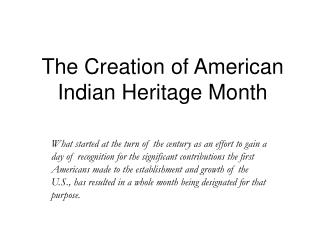 The Creation of American Indian Heritage Month