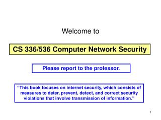 CS 336/536 Computer Network Security